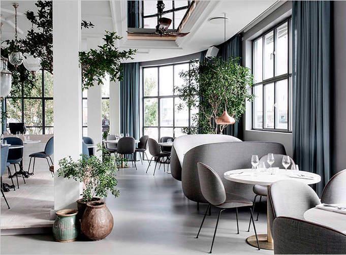 Современный дизайн интерьера ресторана в минимализме