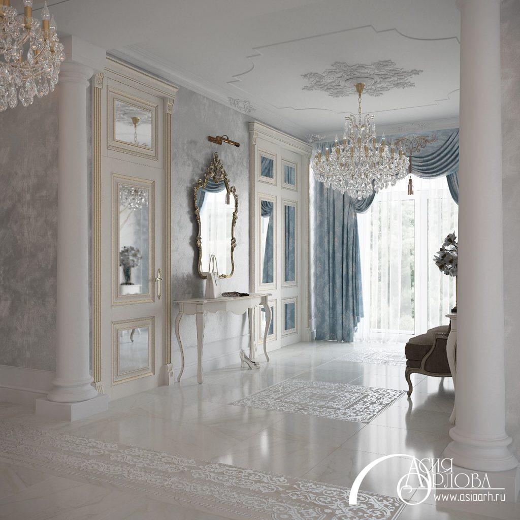дизайн интерьера в классическом стиле, ампир, русский ампир, голубой цвет в интерьере, дизайн дома, интерьер дома, роскошный дизайн